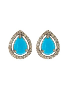 Diamond Halo Framed Pear Shaped Turquoise Stud Earrings by Adornia