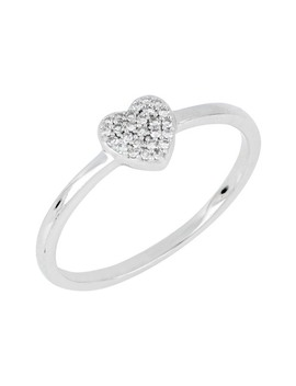 Sterling Silver Pave Diamond Heart Stacking Ring   0.07 Ctw by Carriere