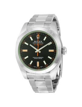 Milgauss Black Dial Domed Bezel Green Crystal Oyster Bracelet Unisex Watch 116400 V by Rolex