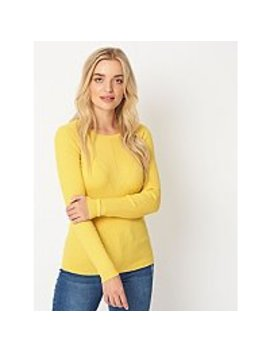 Yellow Ribbed Fine Knit Crew Neck Jumper by Asda