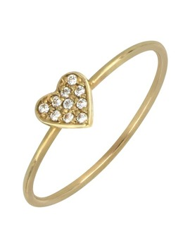 18 K Gold Heart Diamond Pave Ring   0.04 Ctw by Bony Levy