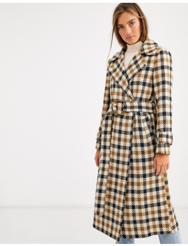 Asos Design Check Belted Coat by Asos Design