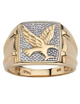 Men's Round Diamond 18k Gold Over Sterling Silver Eagle Ring   13 by Palm Beach Jewelry