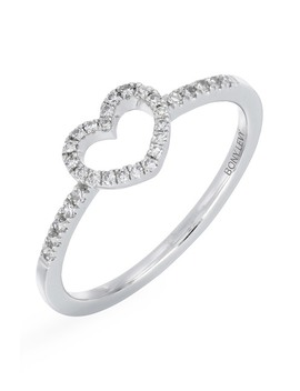 Sterling Silver Pave Diamond Open Heart Ring   0.13 Ctw by Carriere