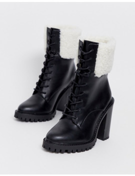 Asos Design Wide Fit Earlsfield Chunky Borg Lace Up Boots In Black by Asos Design