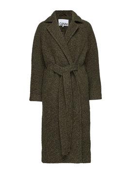 Boucle Wool Long Wrap Coat by Ganni