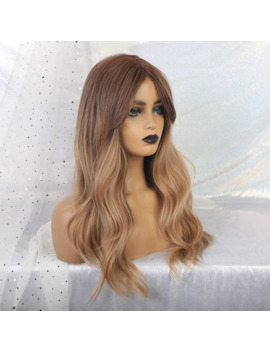 Tiny Lana Women's Ombre Brown Blonde Wigs Long Wave Heat Resistant Synthetic Hair Big Wave Wigs With Bangs Middle Part New by Ali Express.Com