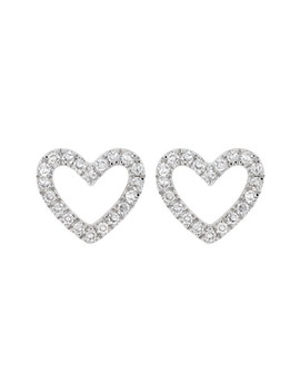 Sterling Silver Pave Diamond Open Heart Stud Earrings   0.12 Ctw by Carriere