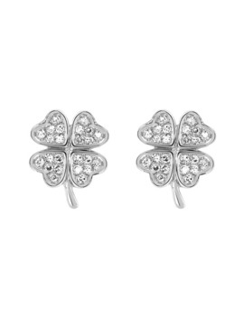 14 White Gold Pave Set Diamond Clover Stud Earrings   0.07 Ctw by Ef Collection