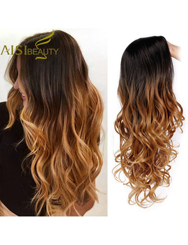 Aisi Beauty Long Ombre Brown Wavy Wig Blonde Cosplay Synthetic Wigs For Women Glueless Hair High Density Temperature Black Gray by Ali Express.Com