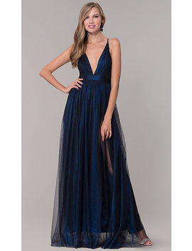 Long V Neck Gold Tulle Formal Dress by Promgirl