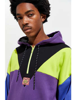 Lazy Oaf Earthling Panel Half Zip Hoodie Sweatshirt by Lazy Oaf