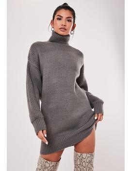 Premium Gray Boyfriend Oversized Roll Neck Dress by Missguided