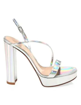 Kimberly Platform Mirrored Leather Slingback Sandals by Gianvito Rossi