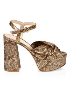 Dallas Snakeskin Embossed Metallic Leather Plaform Sandals by Gianvito Rossi