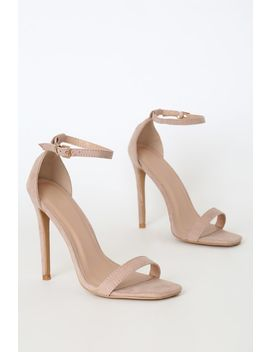 Caraleigh Nude Suede Square Toe Ankle Strap Heels by Lulu's
