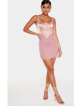 Blush Satin Insert Boned Corset Bodycon Dress by Prettylittlething