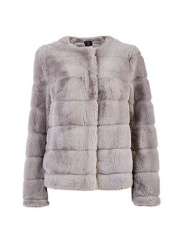 Grey Short Faux Fur Jacket by Dorothy Perkins