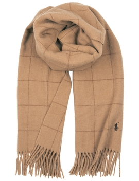 Camel Checked Wool Scarf by Polo Ralph Lauren