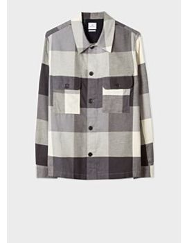 Men's Grey Buffalo Check Cotton Patch Pocket Overshirt by Paul Smith
