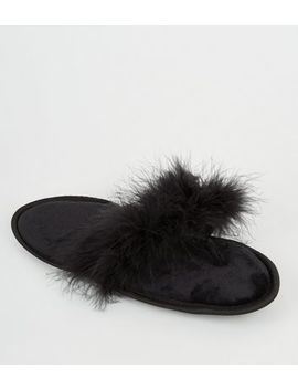 Black Fluffy Feather Flip Flops by New Look