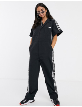 Adidas Originals X Fiorucci Three Stripe Boiler Suit In Black by Adidas