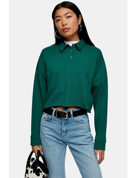 Green Long Sleeve Rugby Polo by Topshop