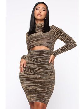 Lure Him In Midi Dress   Gold by Fashion Nova