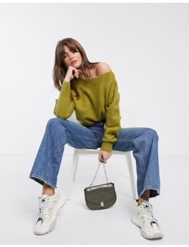 & Other Stories Off Shoulder Sweater In Moss Green by & Other Stories