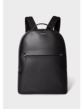 Men's Black Embossed Leather Backpack With 'bright Stripe' Trims by Paul Smith