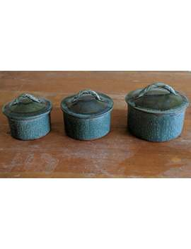 3 Pc. Set Handmade Pottery With Turquoise Glaze, Jars With Lids, Small, Medium, And Large Sizes, Ceramic Jars For The Kitchen Or Home Decor by Etsy