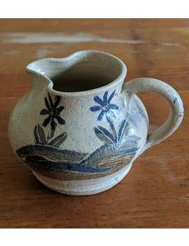 Pottery Small Pitcher With Blue And Tan Flower Motif, Handmade Ceramic Pottery Speckled Clay Creamer Or Small Pitcher, Modern Home Decor Pot by Etsy