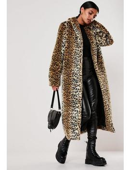 Brown Leopard Print Long Faux Fur Coat by Missguided