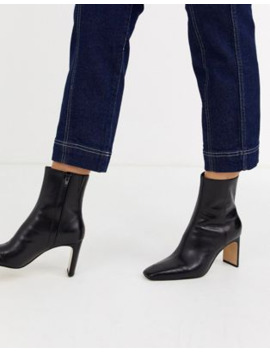 &Amp; Other Stories Leather Almond Toe High Heel Ankle Boots In Black by & Other Stories