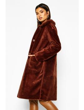 Faux Suede Lined Button Through Faux Fur Coat by Boohoo