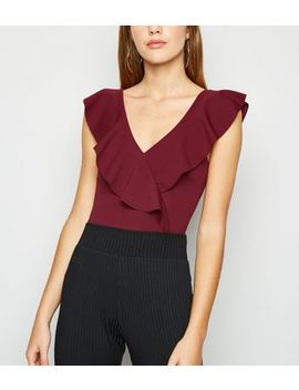 Burgundy Ruffle Plunge Neck Bodysuit by New Look