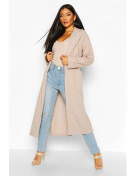 Tonal Check Belted Wool Look Coat by Boohoo