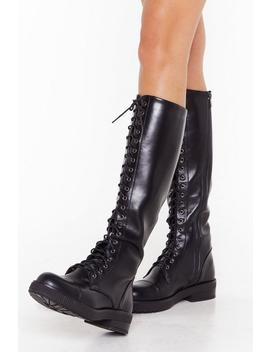 Pu Lace Up Knee High Biker Boot by Nasty Gal