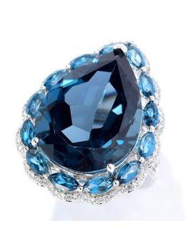 Gem Treasures® 26.00ctw London Blue Topaz & White Zircon Ltd Ed Cocktail Ring by Shop Hq