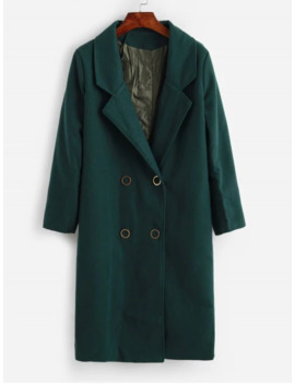 Seam Pockets Double Breasted Wool Blend Coat   Sea Green L by Zaful