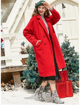 Zaful Lapel Christmas Double Breasted Pockets Teddy Coat   Chestnut Red S by Zaful