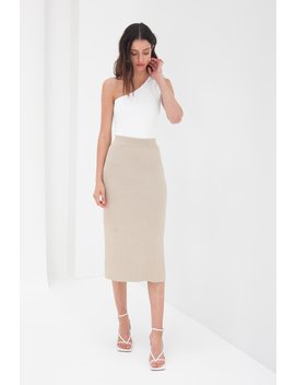 Knit Midi Skirt   Tan by Style Addict