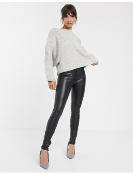Asos Design Premium Super Chunky Rib Sweater With Tie Back by Asos Design