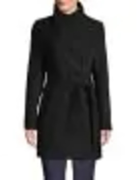 Wool Fencing Belted Coat by Calvin Klein