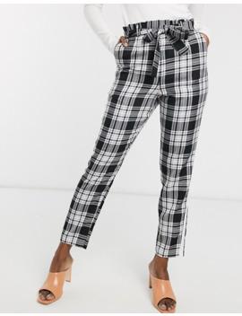 Asos Design Check Side Stripe Tie Waist Pants by Asos Design