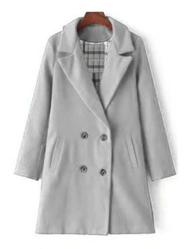 Lapel Double Breasted Wool Coat   Gray L by Zaful