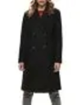 Wool Blend Double Breasted Long Coat by Only