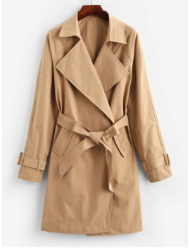 Zaful Pockets Solid Belted Trench Coat   Khaki S by Zaful