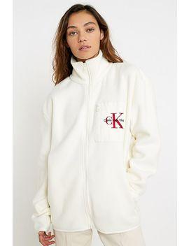 Calvin Klein – Fleece Jacke Mit Logo Und Reißverschluss by Calvin Klein Shoppen