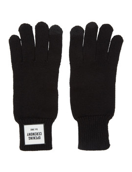 Black Knit Logo Gloves by Opening Ceremony